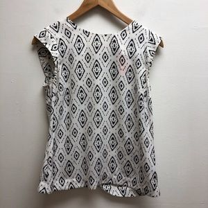 Abs platinum black & white patterned top